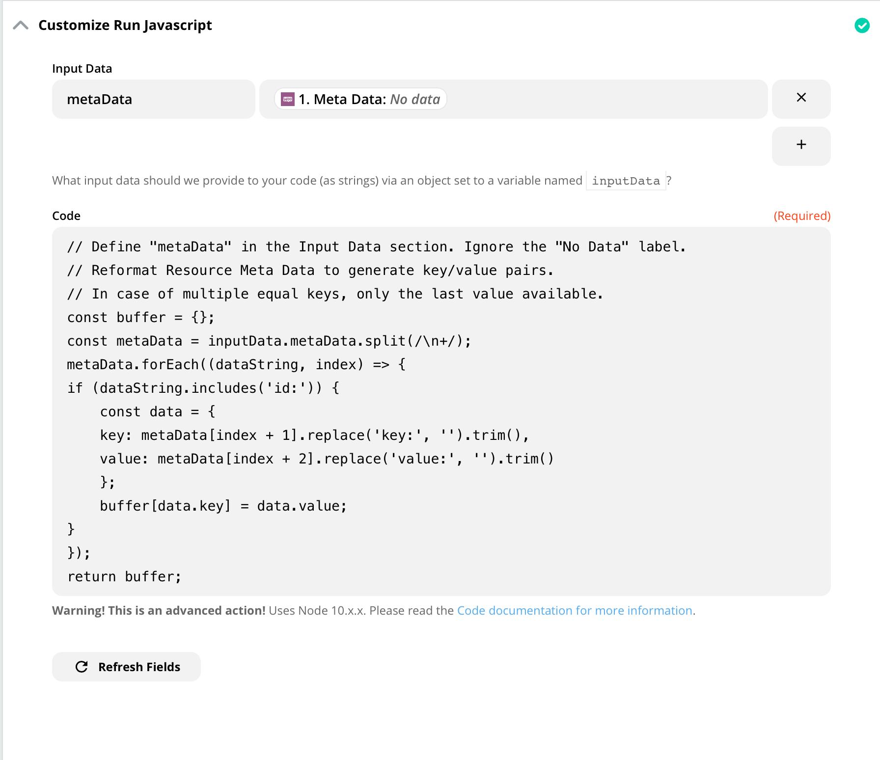 Example Meta Key/Value Code settings (Order)